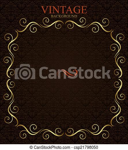 Vintage background with golden  frame - csp21798050