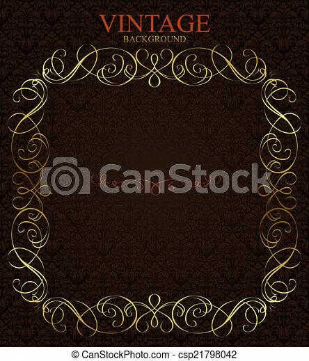 Vintage background with golden  frame - csp21798042