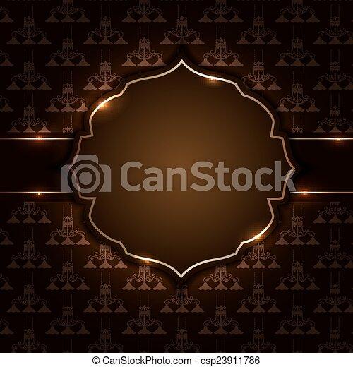 Vintage background with golden frame vector illustration - csp23911786