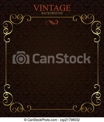 Vintage background with golden  frame - csp21798032