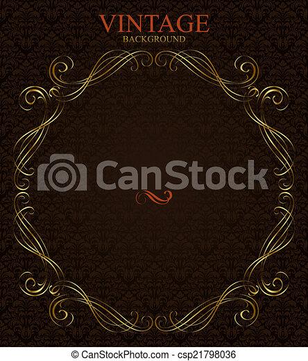 Vintage background with golden  frame - csp21798036