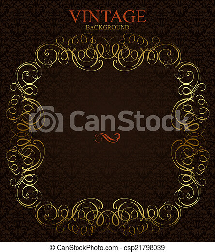 Vintage background with golden  frame - csp21798039