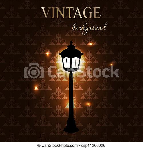 Vintage background with golden frame vector illustration - csp11266026