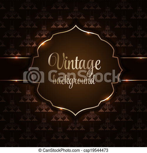 Vintage background with golden frame vector illustration - csp19544473