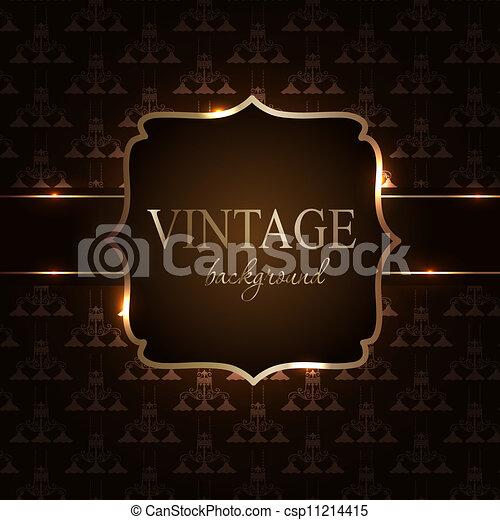 Vintage background with golden frame vector illustration - csp11214415