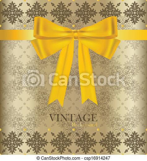 Vintage background with golden ribbon. Vector illustration. - csp16914247