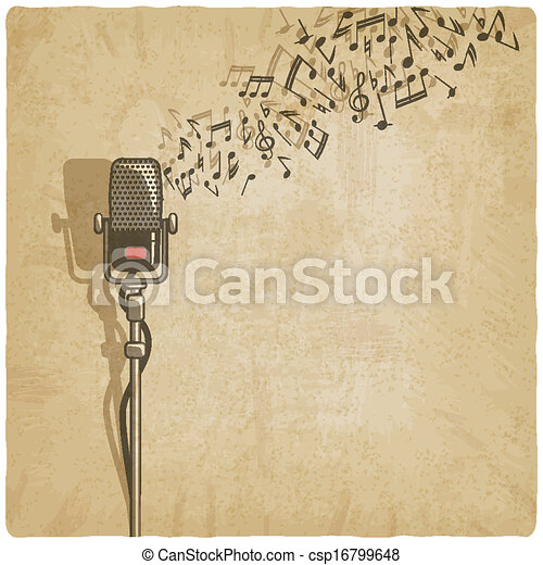 Vintage background with microphone - csp16799648