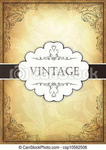 Vintage background with ornamental frame. Vector illustration, EPS10 - csp10562506