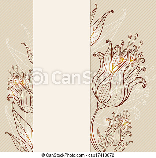 Vintage background with tulips - csp17410072