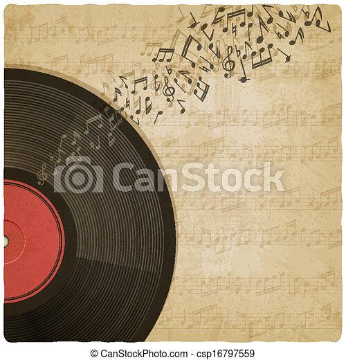 Vintage background with vinyl record - csp16797559