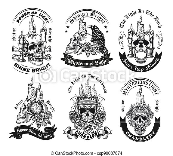 Vintage badges with candle on skull vector illustration set - csp90087874