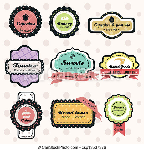 vintage bakery labels a vector illustration of vintage vectors rh canstockphoto com bakery clipart black and white bakery clip art free download