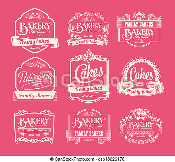 Vintage bakery labels - csp18626176