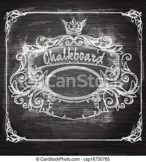 Vintage banner and chalk board. Decorative retro banner.  Can be used for banner, invitation, wedding card,  scrapbooking and others. Royal vector design element. - csp16730785