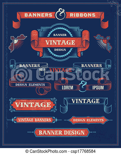 Vintage banner scroll set - csp17768584
