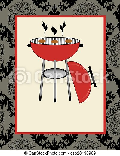 vintage barbecue party invitation card with ornate elegant abstract