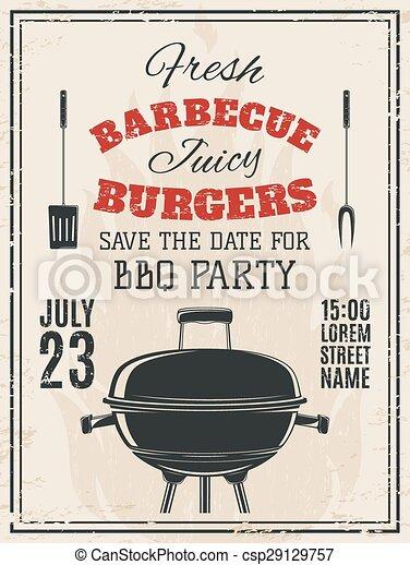 Vintage barbecue party invitation. - csp29129757