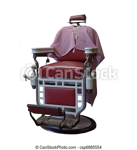 Vintage Barber Chair On A White Background Stock Photo
