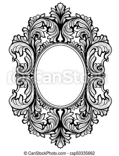 Vintage baroque frame decor. detailed ornament vector illustration ...