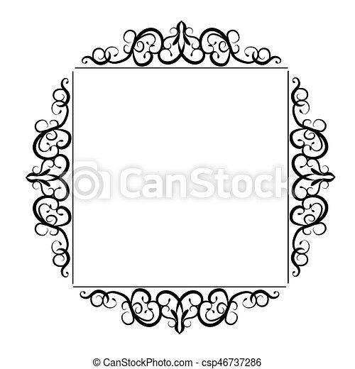 Vintage baroque frame. Vintage baroque swirl frame black and white ...