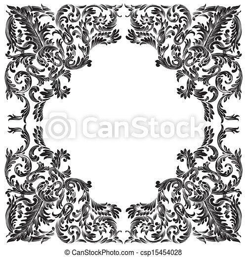 Vintage baroque frame. Baroque frame on white background.