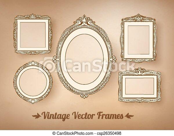 Vintage baroque frames set. vector illustration.