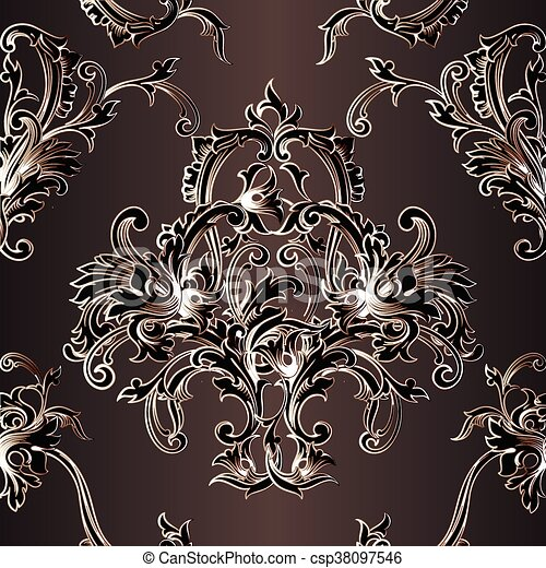 Vintage Baroque Wallpaper Vector Seamless Pattern