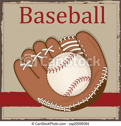 vintage baseball and baseball glove or mitt - csp20095094