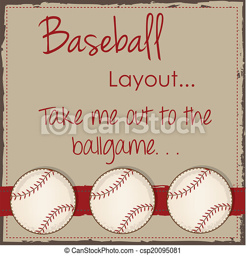 Vintage Baseball Layout For Scrapbooking Cards Or Vector
