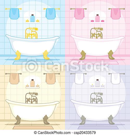 Vintage Bathtub Bathroom Set