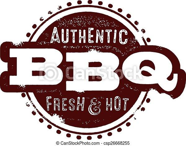 Vintage BBQ Stamp - csp26668255