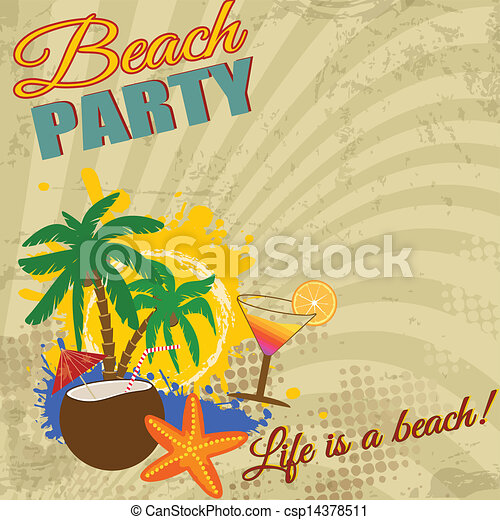 Vintage beach party poster on retro style, vector ...