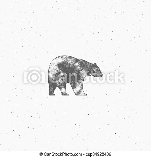 Vintage bear with hand drawn lettering slogan. Retro monochrome animal design with inspirational typography. Motivation text. Wild and free background. Sunburst. Vector illustration. - csp34928406