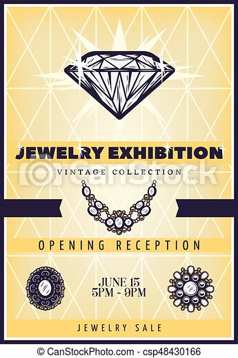 Vintage Beautiful Jewelry Exhibition Poster - csp48430166