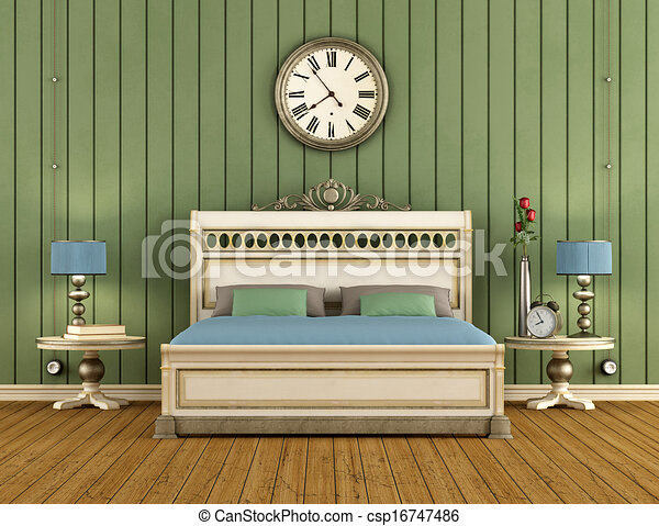 Vintage Bedroom with green wall paneling