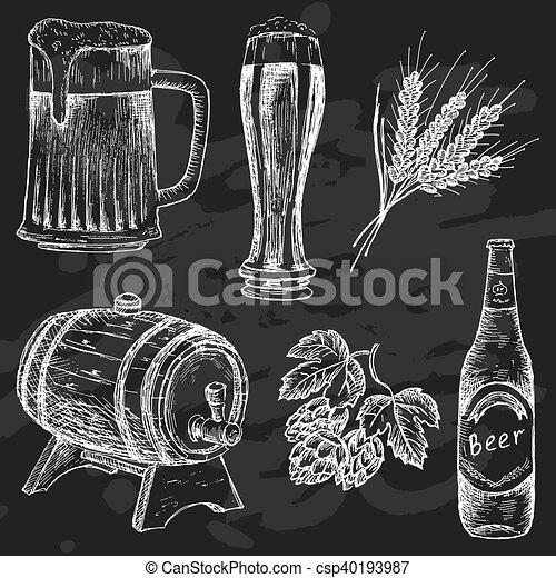 beer set for design menu vintage beer on chalk board