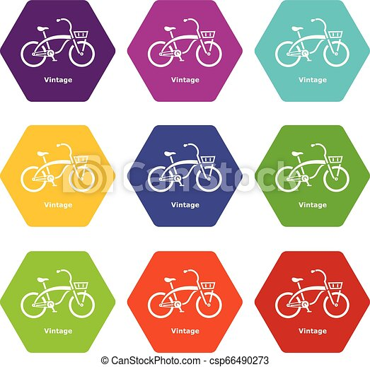 Vintage bicycle icons set 9 vector - csp66490273