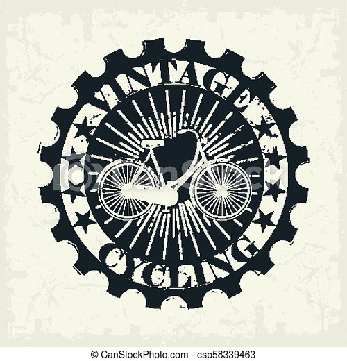 Vintage Bicycle stamp - csp58339463