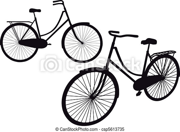 vintage bicycle, vector - csp5613735