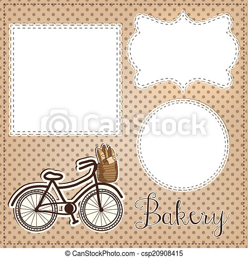 Vintage bicycle with bread for bakery layout, with vintage lace  - csp20908415