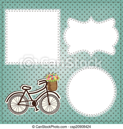 Vintage bicycle with flowers in basket layout, with vintage lace - csp20908424