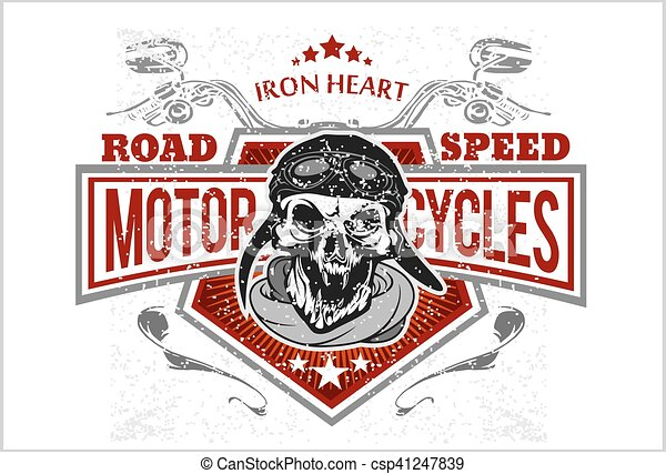 Vintage Biker Skull, t-shirt prints, emblems. - csp41247839
