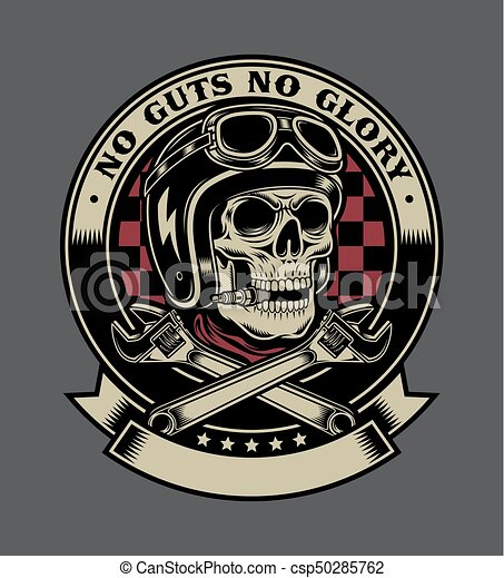 Vintage Biker Skull with Crossed Monkey Wrenches Emblem - csp50285762