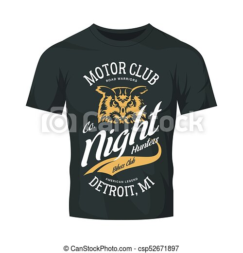 81a970f8 Vintage bikers club vector logo on dark t-shirt mock up. premium quality  owl bird night hunter logotype tee-shirt emblem illustration. detroit, ...