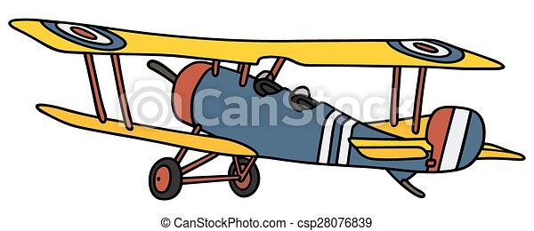 vintage biplane hand drawing of a vintage blue and yellow rh canstockphoto com airplane clip art black and white airplane clipart cartoon