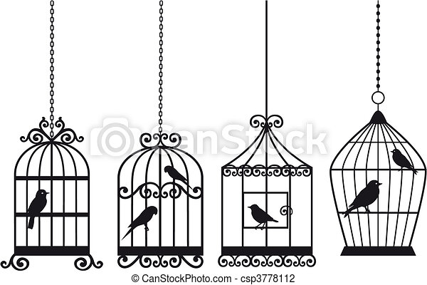 vintage birdcages with birds - csp3778112