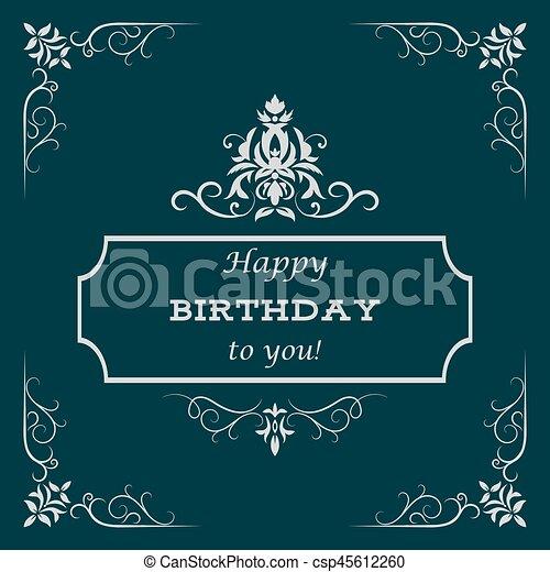 Vintage Birthday Card Vector Illustration For Greeting