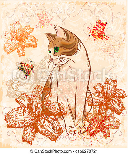 Vintage birthday card with cat and lilies.  - csp6270721