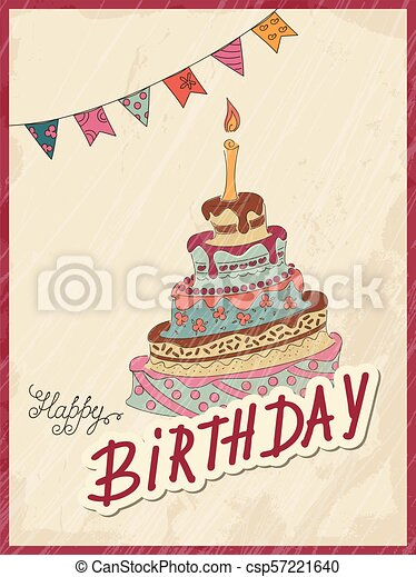 Vintage Birthday Card With Doodle Cake And Flags Birthday Doodle