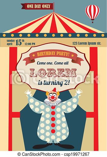 Vintage birthday invitation Vintage carnival or circus clip art